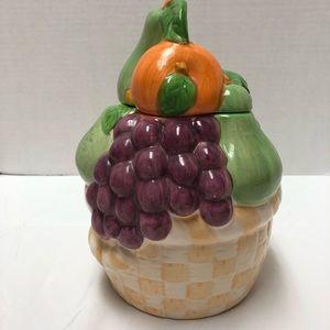 VINTAGE COOKIE JAR,  Large colorful with lid.